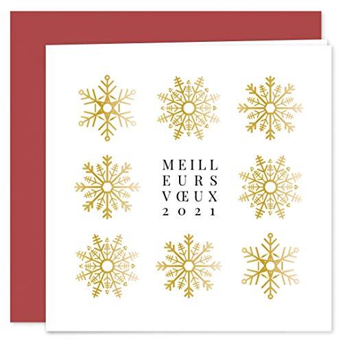 Carte de voeux 2021 • Flocons Dorés • Lot de 16 Cartes • Papier haut de gamme • 16 Enveloppes Rouges • 14x14 cm Pliée • Idéal pour souhaiter la Bonne Année et Nouvel An • Popcarte