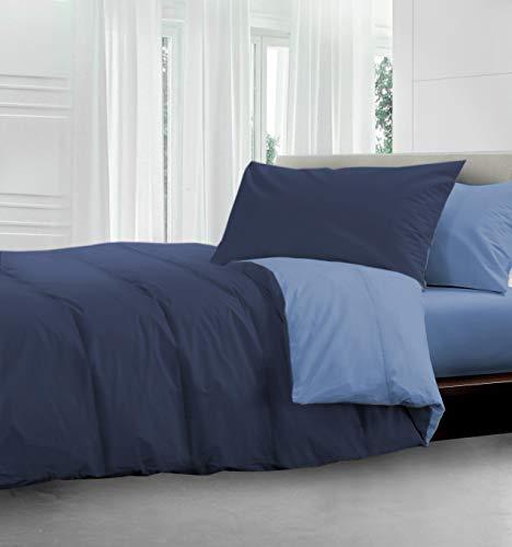 HomeLife Piumone Invernale Matrimoniale 250X250 Blu Azzurro Made in Italy | Piumoni Letto Invernale Double Face | Trapunta Matrimoniale Anallergica Calda | Piumino Colorato | Blu/Azz, 2P