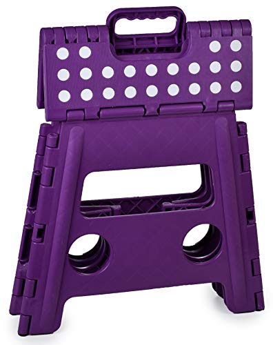 Folding Step Stool, 13 Inch - The Anti-Skid Step Stool is Sturdy to Support Adults and Safe Enough for Kids. Opens Easy with One Flip. Great for Kitchen, Bathroom, Bedroom, Kids or Adults. (Purple)