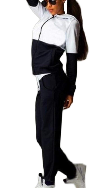 ミリメートル土砂降り妥協女性2パソコントラックスーツは、アクティブカラーブロックジャケットパンツセットを設定