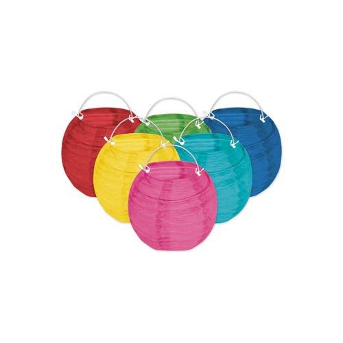 Papierlaterne farbig 6er Set Ø ca. 10 cm - Papierlampions Lampenschirme