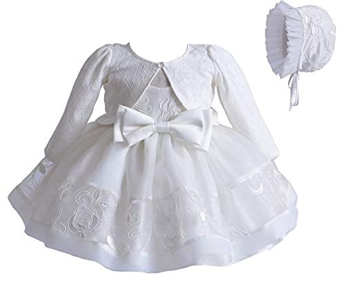 Carolilly Robe Baptême Bébé Fille en Dentelle Costume Cérémonie de 3 Pièces Boléro à Manches...