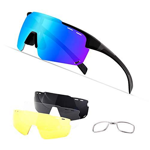 OULIQI Radbrille Polarisierte Sportbrille Fahrradbrille mit UV-Schutz 4 Wechselgläser für Herren Damen, für Outdooraktivitäten wie Radfahren Laufen Klettern Autofahren Angeln Golf (Schwarz grau)