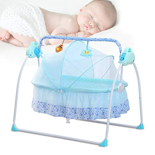 ROMYIX Electric Smart Baby Cradle, Newborns Carrier Infant Bed Blue Folding...
