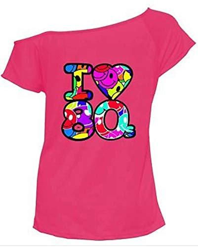 Fashion Feen Damen Kurzarm Multi I Love 80s Sexy Retro Junggesellinnenabschied Gr. 50-52, rose
