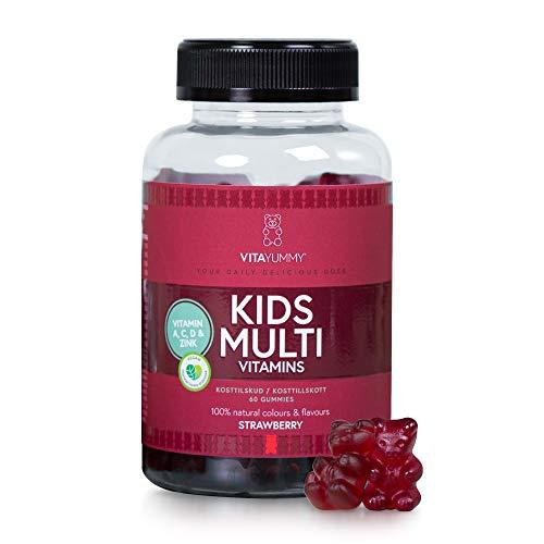 VITAYUMMY Vegane Kinder Multivitamin Gummibärchen, Erdbeergeschmack | Immunsystem Stärken | Hochdosiert Vitamin A C D E & B12 | Natürliche, Allergenfrei & Gelatinefrei | 60 Gummy Vitamins 1 Monat