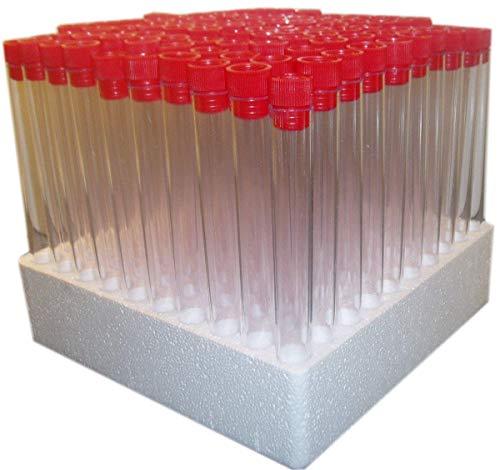 Hauteur 15 cm Volume 20 ml par tube blanc Plastic Test Tubes Lot de 100 tubes /à essais avec capuchons 150/mm Plastique polystyr/ène