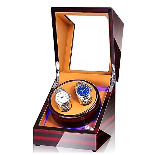 SYN-GUGAI Caja de reloj doble enrollador para relojes automáticos, rotador de reloj con luz LED, carcasa giratoria para reloj, agitador de reloj (color G: G)