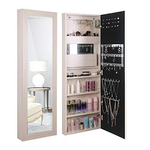 ZL gehele lengte Dressing Spiegel Make-up Sieraden Armoire W/Folding Dressing Table, Champagne MDF Sieraden Kabinet Organizer Deur/muur gemonteerd