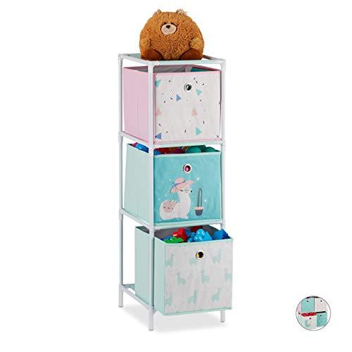 Relaxdays Kinderregal, 3 Boxen, Jungen & Mädchen, Lama-Design, Regal Kinderzimmer, Spielzeug, HBT 89 x 27,5 x 30, bunt