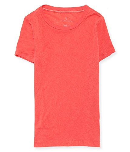 AEROPOSTALE Womens Burnout SS Basic T-Shirt, Red, X-Small