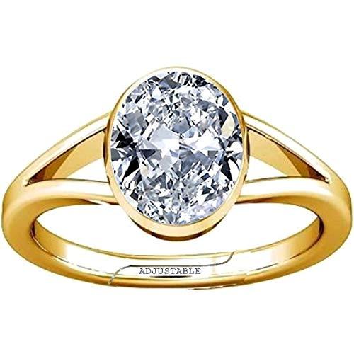Divya Shakti 10.25-10.50 Carat American Diamond Round Zircon Gemstone Panchdhatu Adjustable Ring for Men & Women