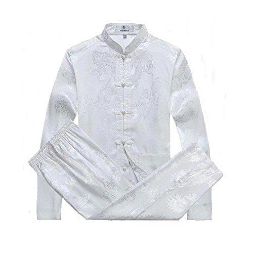 G-like Chinesische Kleidung Tang Anzug - Traditionelle Klassische Kostüme Kampfkunst Kung Fu Tai Chi Qigong Lange Ärmel Drachen Muster Performance Uniform für Männer Frauen (Weiβ, L)
