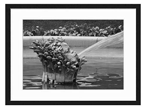 Wood Framed Canvas Artwork Home Decore Wall Art (Black White 20x14 inch) - Fountain Water Paris French France Park Spray