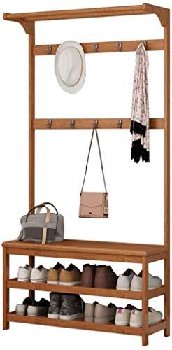 KAYBELE Hogar Coat Rack Stand Stand Hallway Shoe Rack y Banco con estantes Estilo Europeo Perspago de bambú Permanente Multifuncional