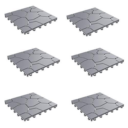 "Pure Garden 50-LG1171 Patio and Deck Tiles – Interlocking Stone Look Outdoor Flooring Pavers Weather Resistant and Anti-Slip Square DIY Mat (Grey Set of 6), 11. 5"" L x 11. 5"" W, 6 Count"