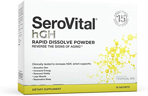 SeroVital Rapid Dissolve Powder, 30 Ct, Tropical Mix - Anti Aging Supplement to Boost Human Growth Hormone associated with Increased Energy, Smoother Skin, and Restorative Sleep…