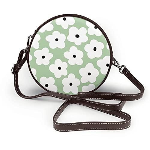 fepeng Pequeño bolso de hombro en forma redonda Pequeñas flores blancas Circular Crossbody Bag Bolsas de hombro de cuero de microfibra, café, Talla única