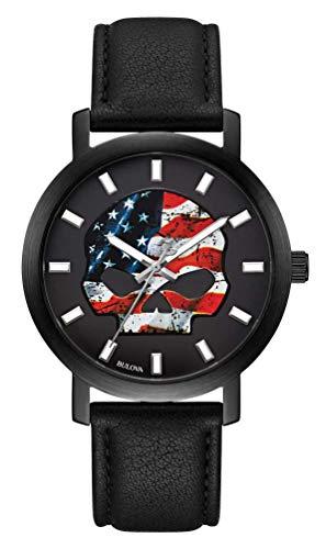 Harley-Davidson 78A122 - Orologio da uomo, motivo: bandiera americana Willie G, con cinturino in pelle