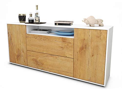 Stil.Zeit Sideboard Erina/Korpus Weiss matt/Front Holz-Design Eiche (180x79x35cm) Push-to-Open Technik