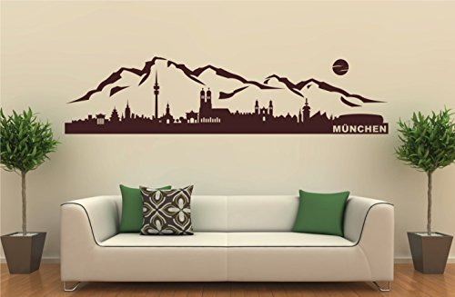 Wandtattoo Wandgestaltung Aufkleber Skyline Berge & München