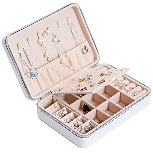 HAVIEANA Caja Joyero Blanco Estuche de Joyas Cuero Rectangular PU Joyero Almacenamiento Organizador con Cerradura,17x12x5cm