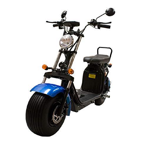 CityCoco Matriculable (II) 1.55KW/20AH (Velocidad max 45km/h, Autonomía 60-120, 2 Bats extraibles, Intermitentes, Cuentakilómetros) - Azul Negro