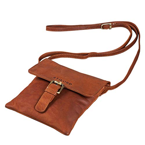 STILORD 'Julia' Kleine Leder Schultertasche Damen Ausgehtasche Vintage Umhängetasche Elegante Handtasche mit Schulterriemen für Frauen echtes Büffel Leder, Farbe:Cognac - braun