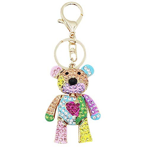 Women Girl Crystal Rhinestone Keychain Sparkling Key Ring Charm Purse Pendant Handbag Bag Decoration,Bear