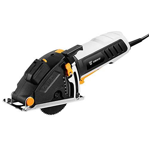 Dompelzaag DEKO 600W mini cirkelzaag elektrisch gereedschap met laser handcirkelzaag (4 bladen, stofdoorgang, inbussleutel, hulpgreep, BMC BOX elektrische zaag)