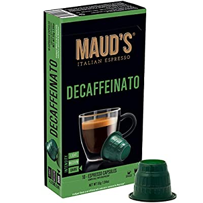 Maud's Decaffeinato Honey Roasted Decaf Dark Roast Espresso Capsules 50ct., 100% Hand-Crafted Arabica Decaf Coffee Italian Decaffeinated Espresso Capsules, Single Serve Decaf Dark Roast Coffee Espresso Pods, Nespresso Original Machine Compatible