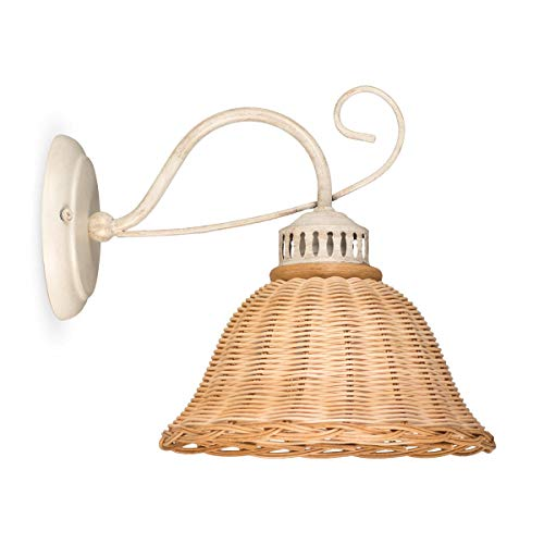 Helios Leuchten 3020712/W Wandlampe antik-weiss Rattan natur-farbig | Rattanlampe Rattanleuchte Landhausstil | Wandleuchte cabby-chic | 1 x E27