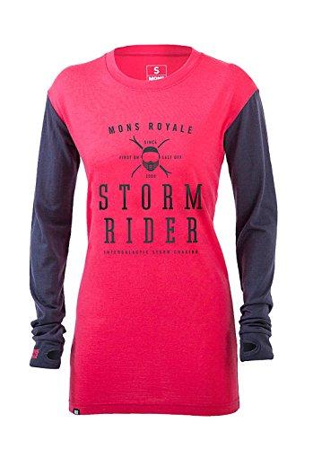 Mons Royale Boyfriend T-Shirt en Laine mérinos pour Femme Manches Longues L Rose - Hot Pink/Charcoal