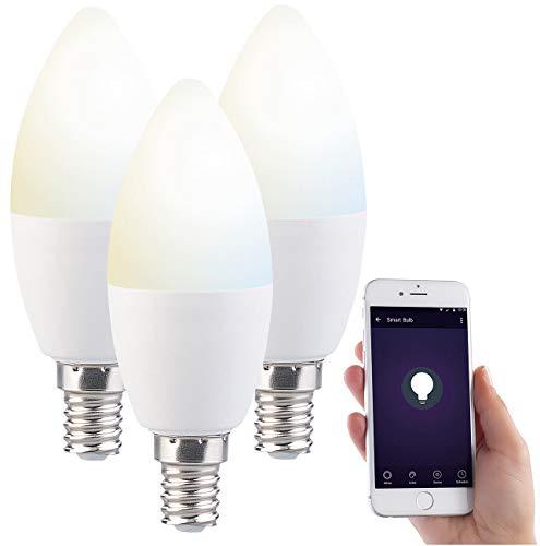 Luminea WLAN Birnen: 3er-Set WLAN-LED-Lampe, für Amazon Alexa & Google Assistant, E14, CCT (Leuchtmittel E14 Kerze)