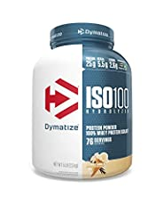 5 lbs of Dymatize ISO100 Gourmet Vanilla Protein Powder (76 Servings) 25 grams of protein, 5.5 grams of branched-chain amino acids (BCAAs), and 2.7 grams of Leucine per serving. 1 gram or less of sugar and fat per serving Scientifically formulated, f...