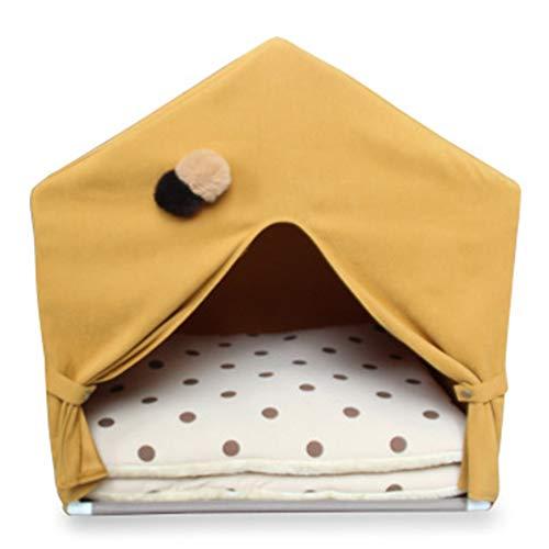 XMCWZJ Pet Tent Wo Korean Plissee-Vorhang Abnehmbare Tent Katzen und Hunde Vier Jahreszeiten Universeller,Gelb