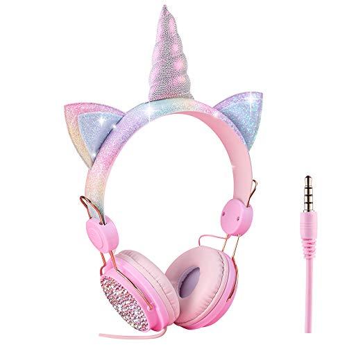 Cuffie per bambini a forma di unicorno, con cavo, 3,5 mm, cavo audio 85 dB, volume limitato, vivavoce, cuffie con microfono, per ragazzi, ragazze, adulti e ragazzi
