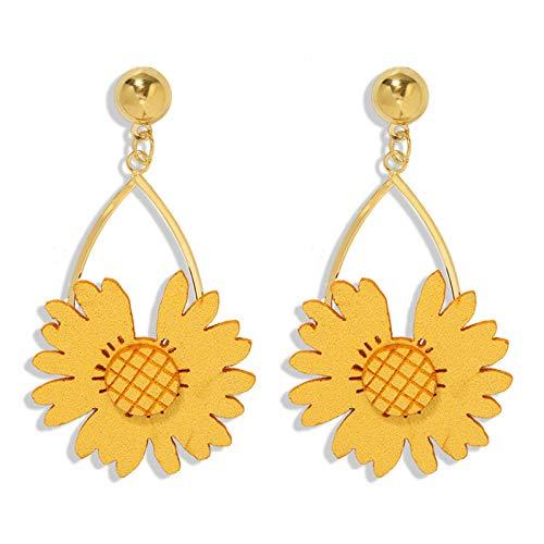 Pendientes de flores frescas pequeñas silvestres de primavera y verano pendientes de flores de sol de girasol de bosque dulce