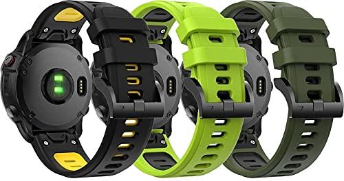 Correa de Reloj de Silicona Suave Compatible con Garmin Fenix 5 / Fenix 5 Plus/Fenix 6 / Fenix 6 Pro/Quatix 5, Repuesto Ideal (3-Pack H)