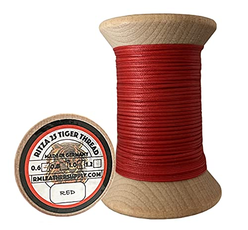 0.6mm Ritza Tiger Thread - Waxed Polyester Braided Thread for Hand Sewing Leather (Mini Spool 25 Meters)