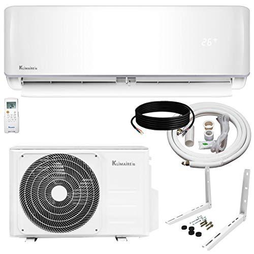 Klimaire 12,000 BTU KSIV 19 SEER Ductless Mini-Split Inverter Air Conditioner Heat Pump System with 15-ft Installation Kit and Wall Bracket 115V