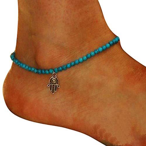 DAY.LIN Schmuck Damen Fußkettchen Mode Fußkettchen Boho Perlen Hamsa Fatima Fußkettchen Fußkette Strand Schmuck