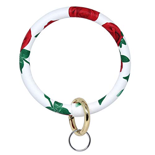 imeetu Wristlet Keychain, Circle Leather Bangle Keyring Bracelet(Rose)