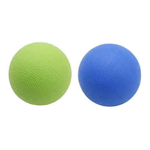 freneci 2 Bola de Masaje de Movilidad Miofascial de Lacrosse de Tejido Profundo para El Músculo Del Cuello Trasero - Azul verde