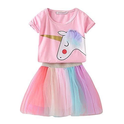 Umupi Mädchen Einhorn Kostüm Prinzessin Verkleidung Partei BlumenKleid (4 Jahre, Rosa)