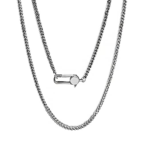 AMTBBK Pferdepeitsche All-Match-Halskette - S925 Sterling Silber Einfache Halskette, Männlicher Und Weiblicher Hip-Hop Alte Und Alte Nackte Kette Mit Kette,75cm