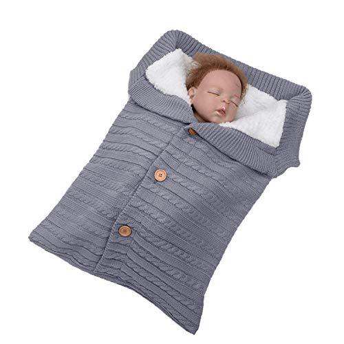 Libershine - Saco de Dormir de Punto Felpa, Unisex Swaddle Manta para con Forro Polar de Bebé Recién Nacido de 0-18 Meses para Cochecito Invierno Caliente Cómodo Asiento de Bebé