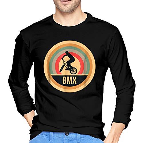 WGYWE Retro Vintage BMX - Camiseta de manga larga para hombre, diseño gráfico informal, color negro