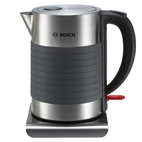 Bosch TWK7S05 Hervidor de agua de acero inoxidable y silicona antideslizante, 2200 W, capacidad de 1.7 litros