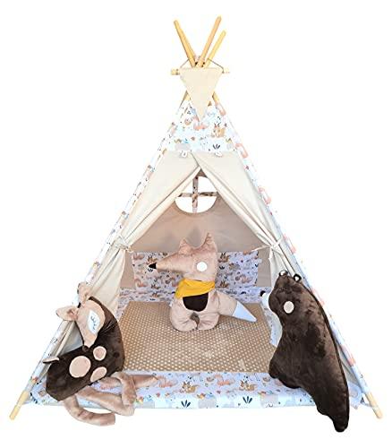 Izabell Tipi - Tienda de campaña para niños, para interior y exterior, juguete indio, con ventana y accesorios, diseño de zorro